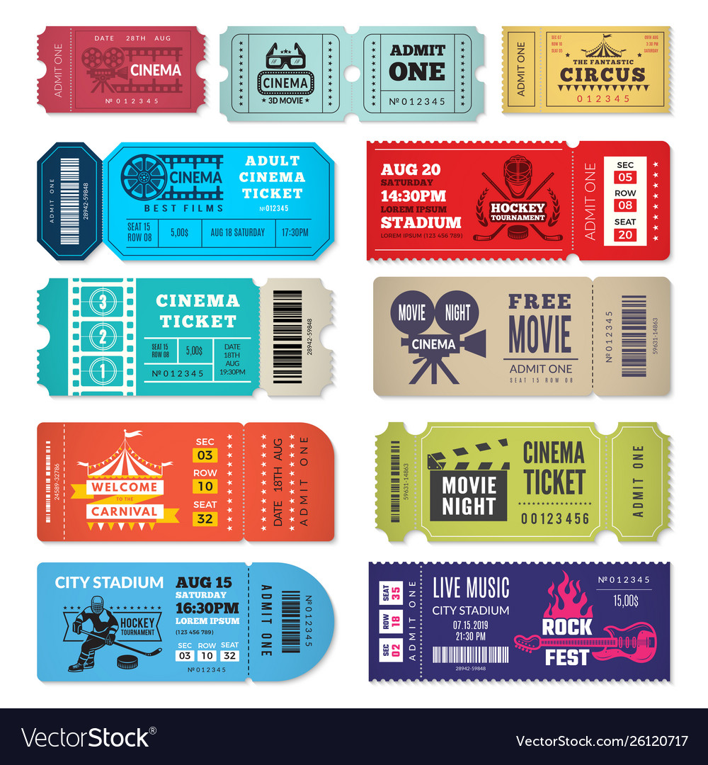 Tickets template events entrance tickets in