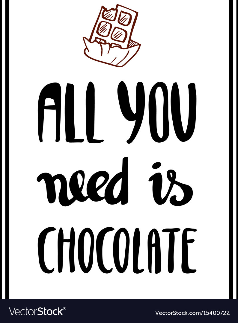 All you need is chocolate lettering for poster