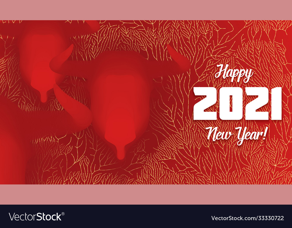Chinese new year 2021 year ox 3d red bull