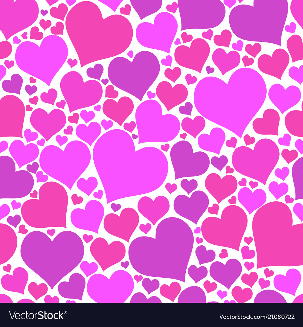 Color hearts on white background chaotic