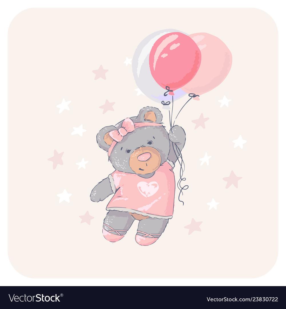 Cute bear flying with a balloon