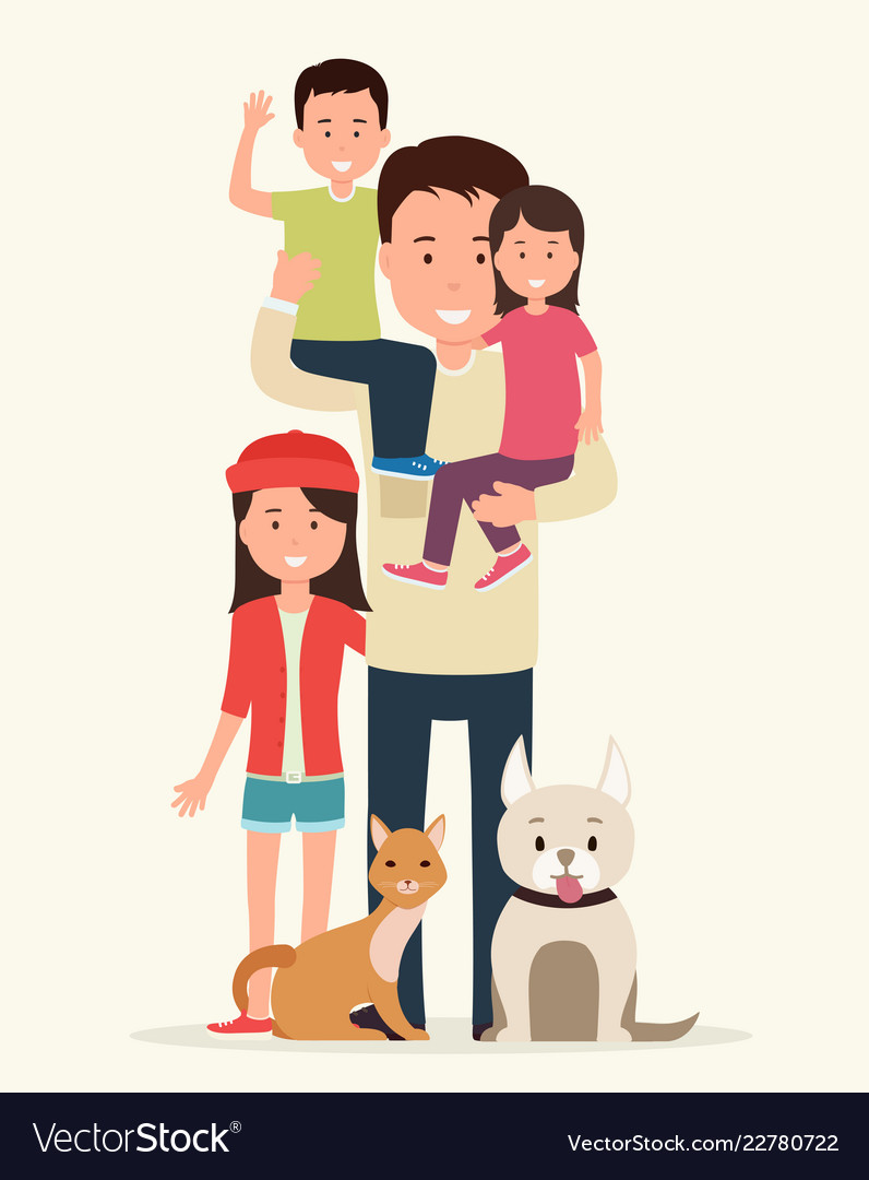 Father with children and animals