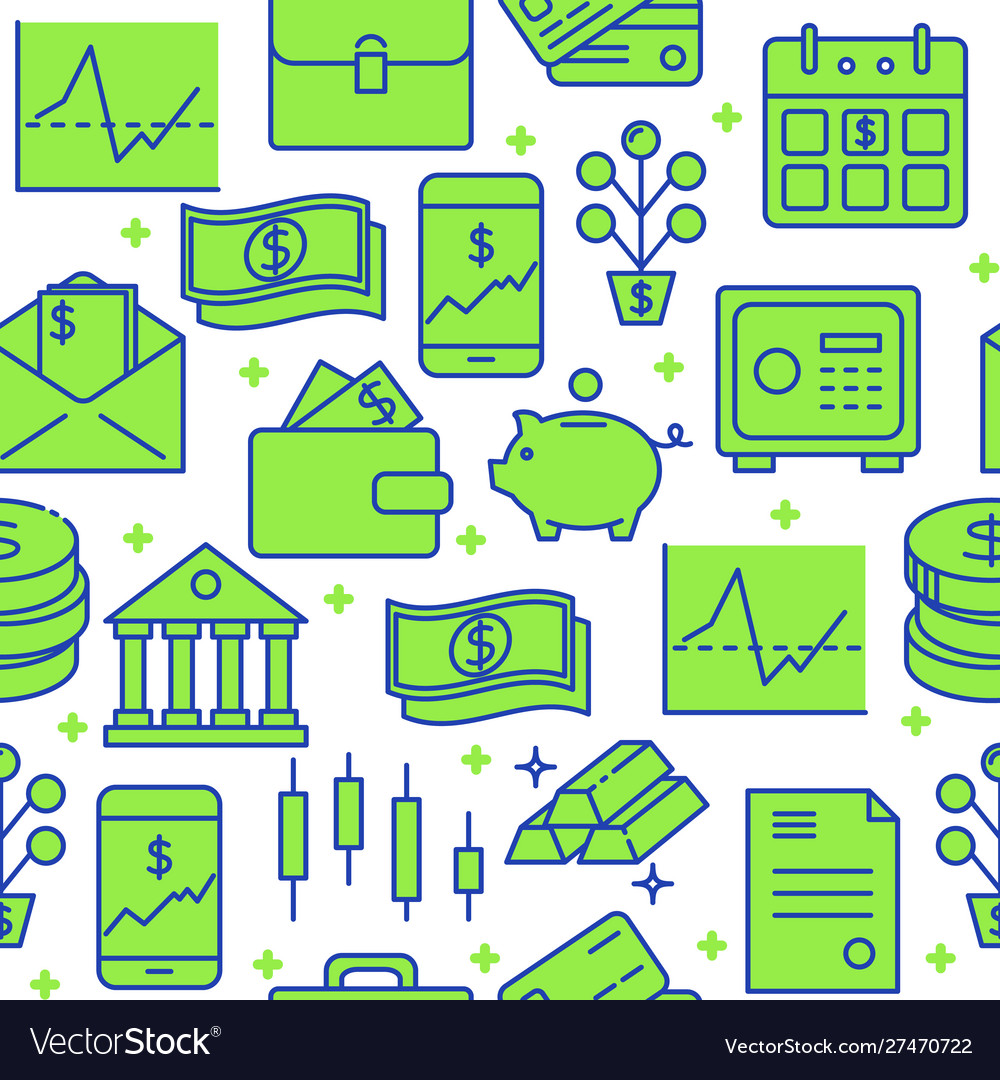 Finance and money seamless pattern in colored line