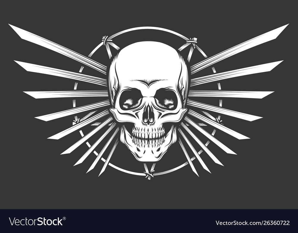 Human skull emblem design