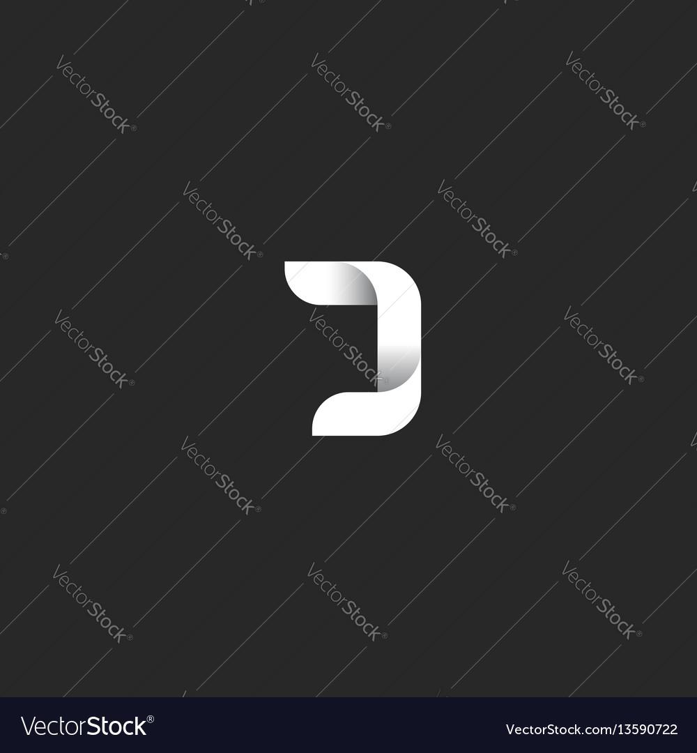 J letter gradient logo monogram black and white