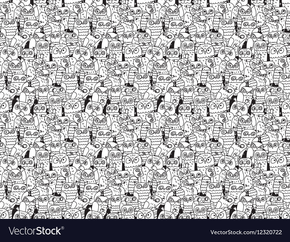 Owls birds group black and white seamless pattern
