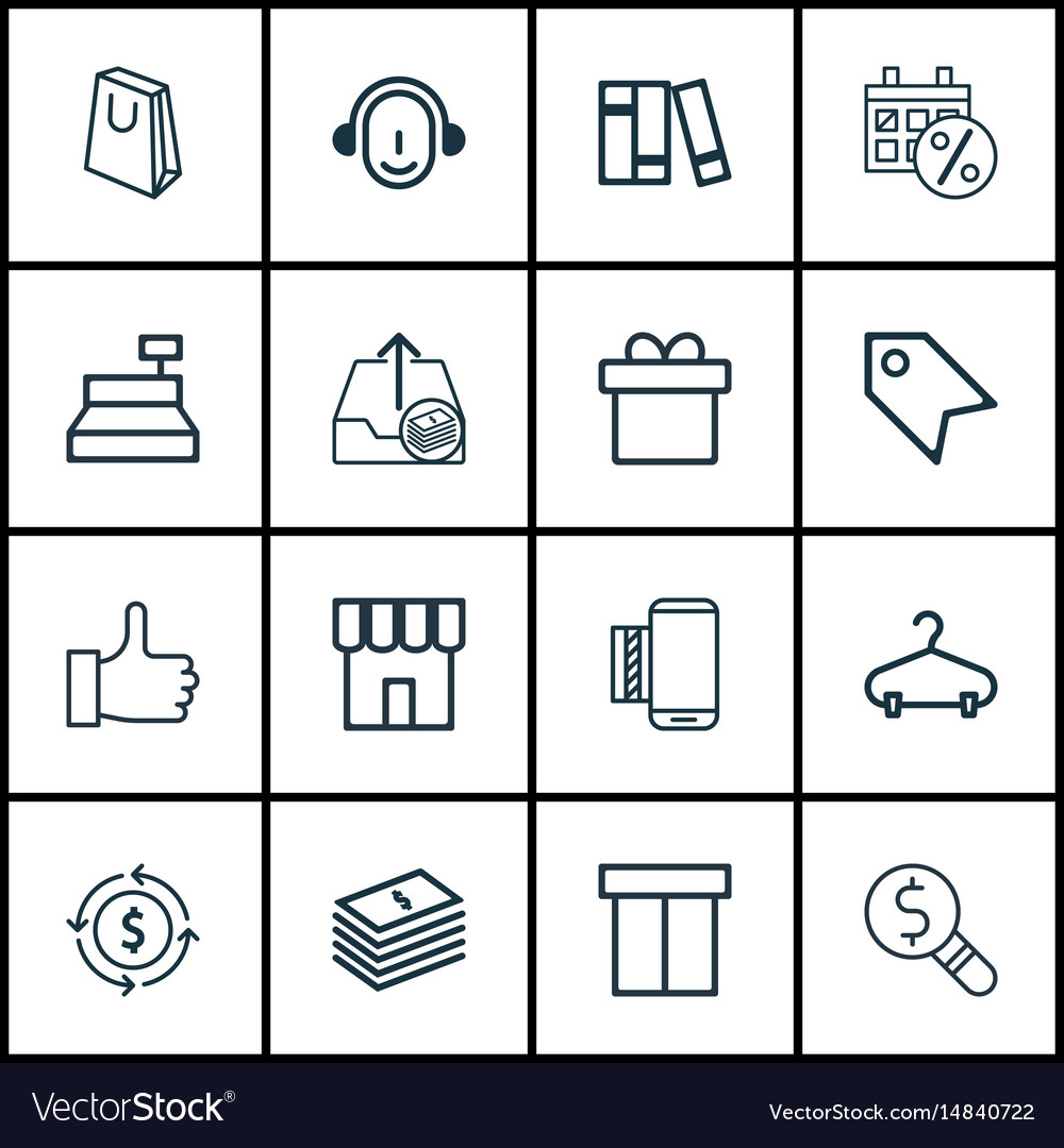 Set of 16 e-commerce icons includes shop till vector image