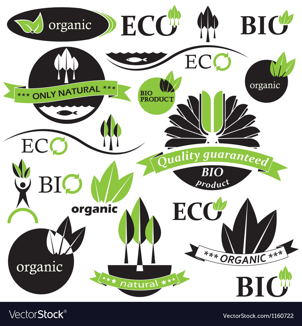 Set of bio and organic badges and labels