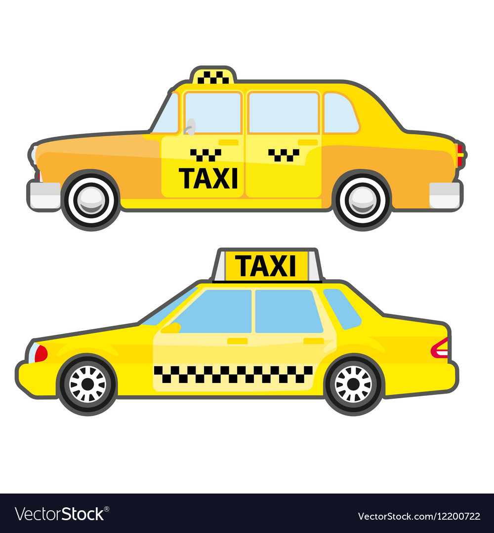 Set of car taxi service side view Yellow vehicle