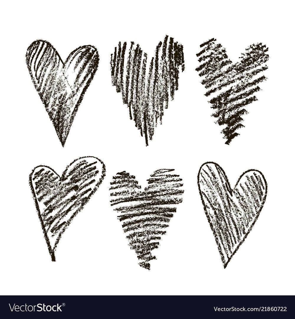 Set of hearts hand drawn