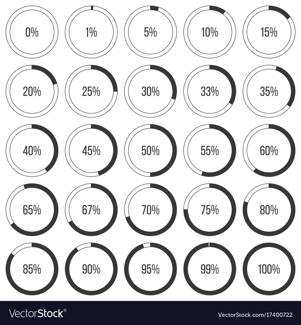 Set of pie charts or donut graph diagram icon