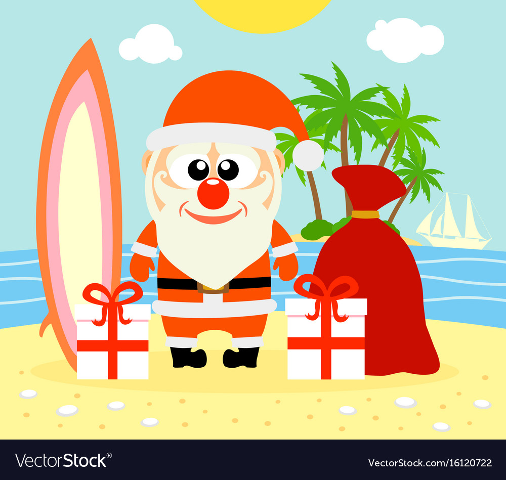 Tropical Christmas.Tropical Christmas Background With Santa Claus