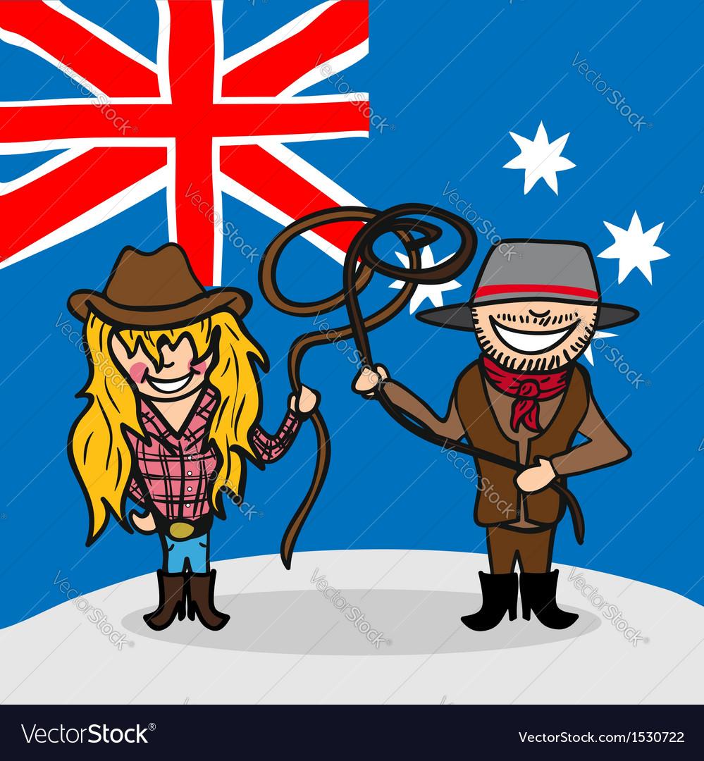 Welcome to Australia people vector image