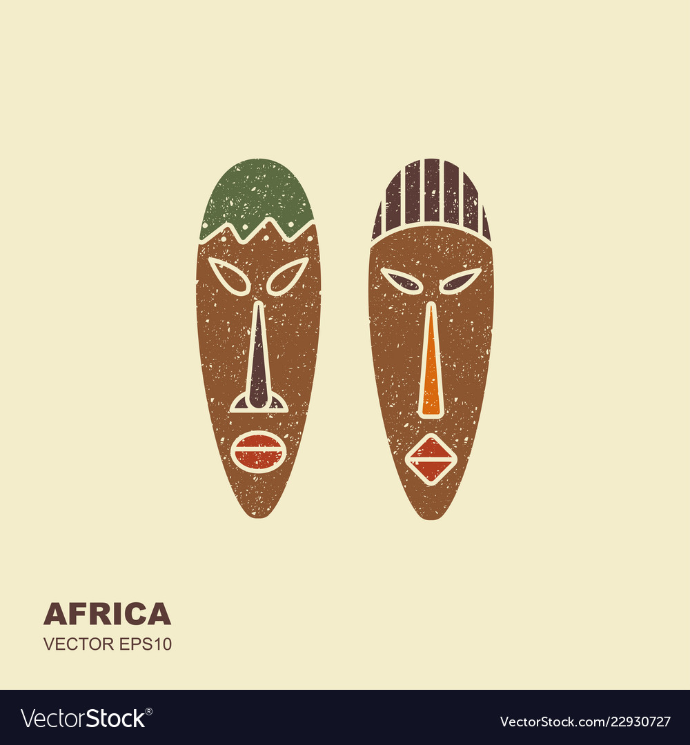 African masks icons for tribal designs
