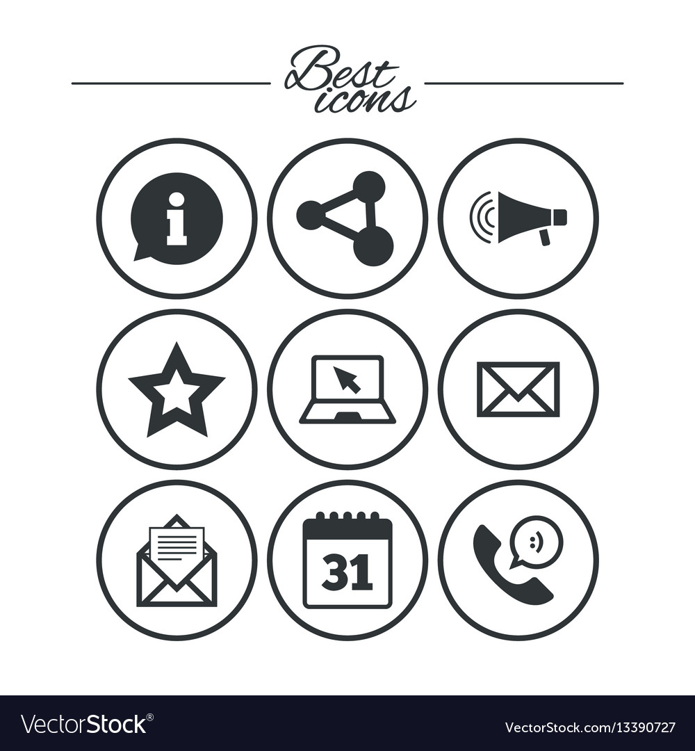 Communication icons contact mail signs