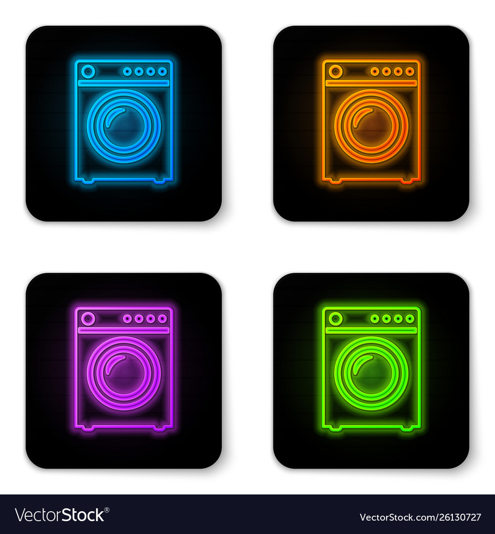 Glowing neon washer icon isolated on white
