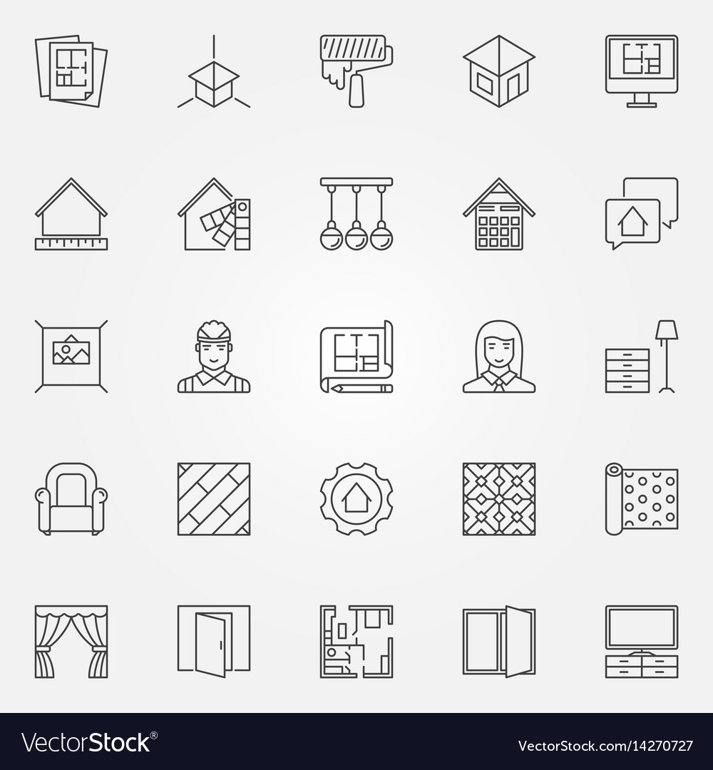 Interior Design Icons Set Royalty Free Vector Image