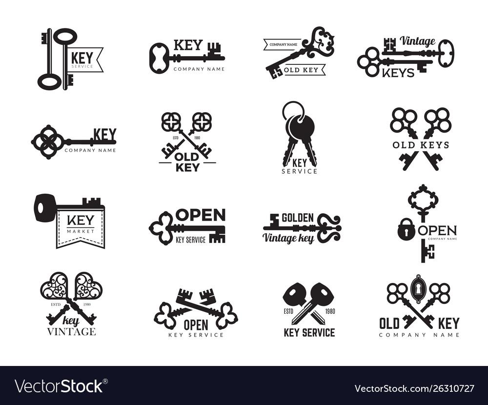 Keys logotype real estate badges door and gate