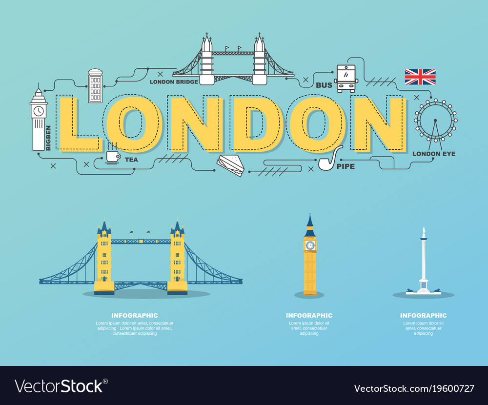 London landmarks icons in england for traveling