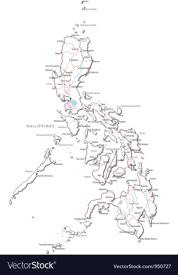 philippines black white map vector image philippines
