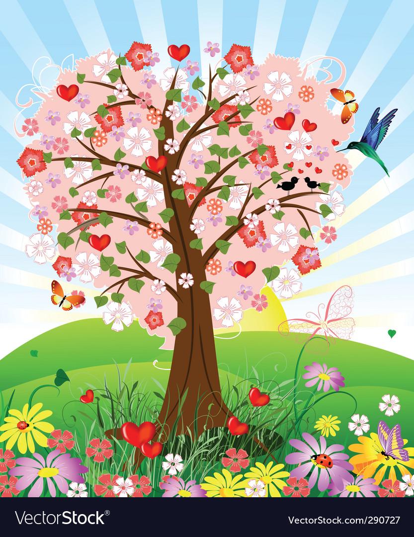 Romantic tree vector image