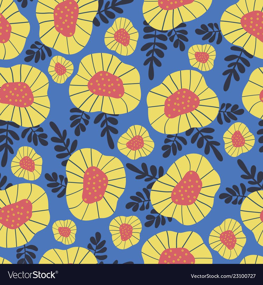 Scandinavian retro flower background seamless