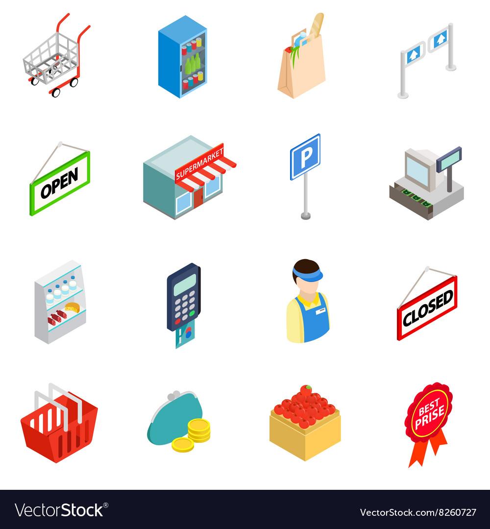 Supermarket icons set isometric 3d style