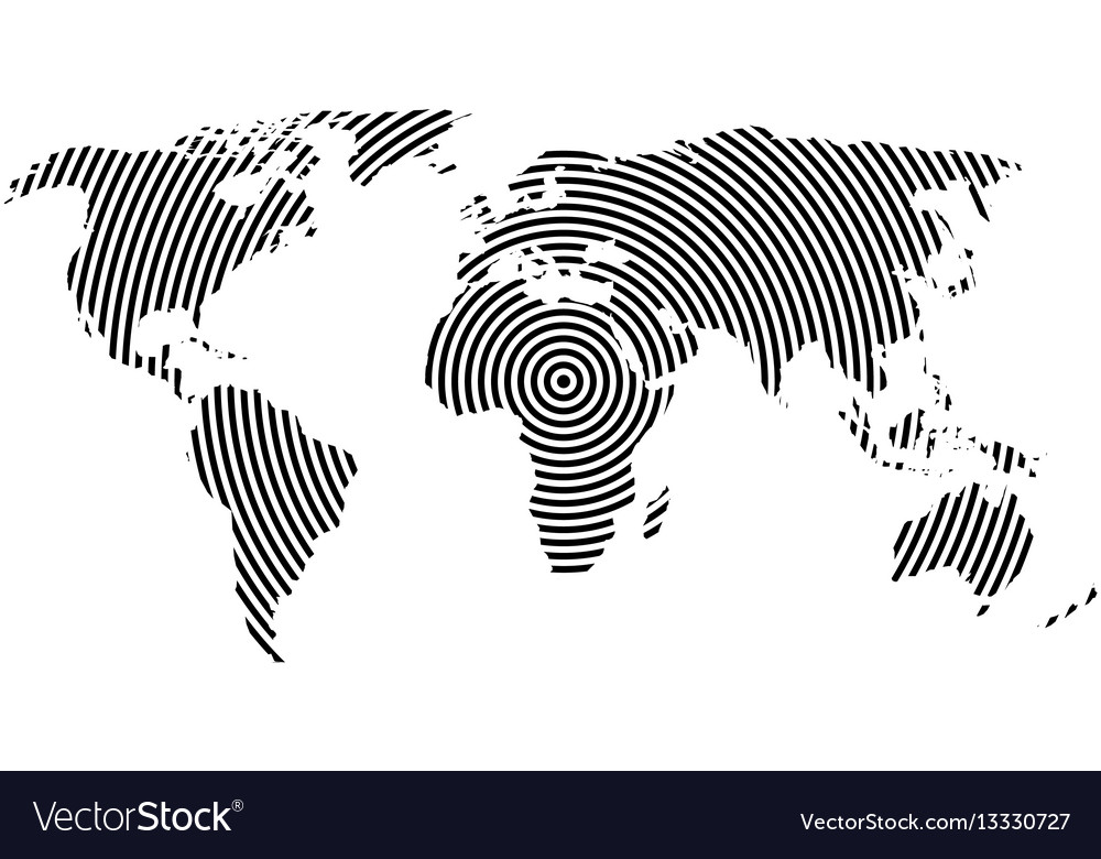 World map of black concentric rings on white vector image gumiabroncs Images
