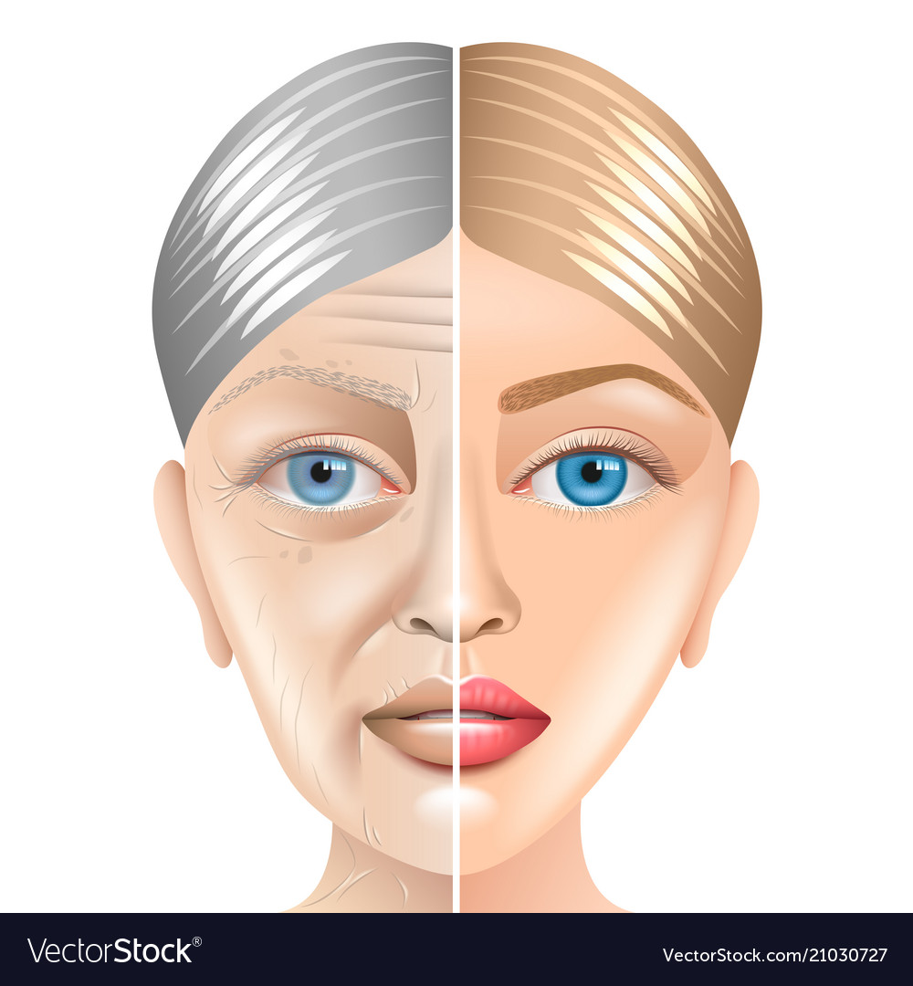 Young and old woman face aging concept isolated