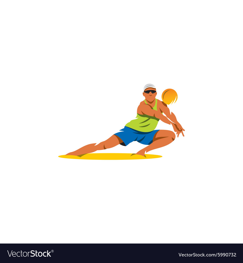 Beach volleyball sign Player takes the ball vector image