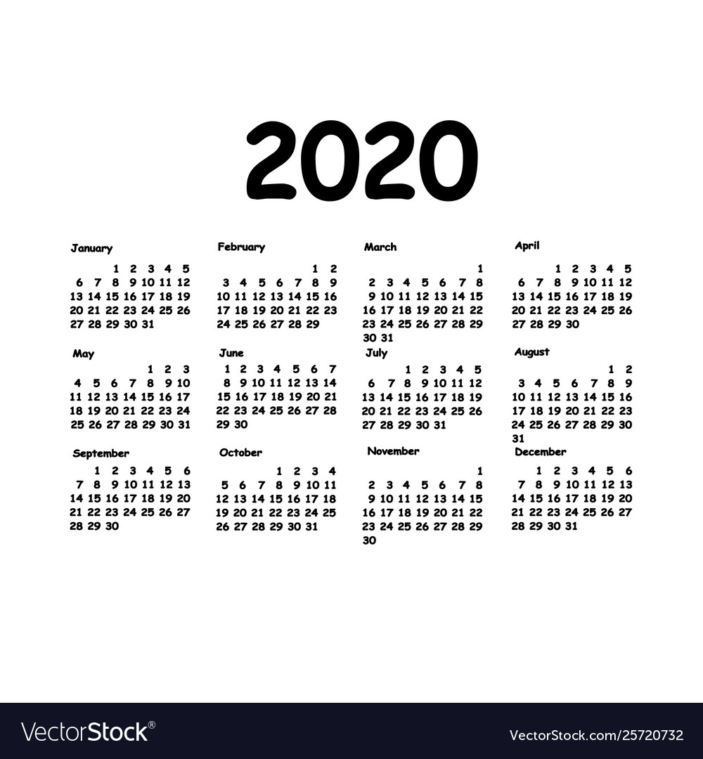 picture about Monthly Planning Calendar identify Calendar 2020 grid every month designing for yr