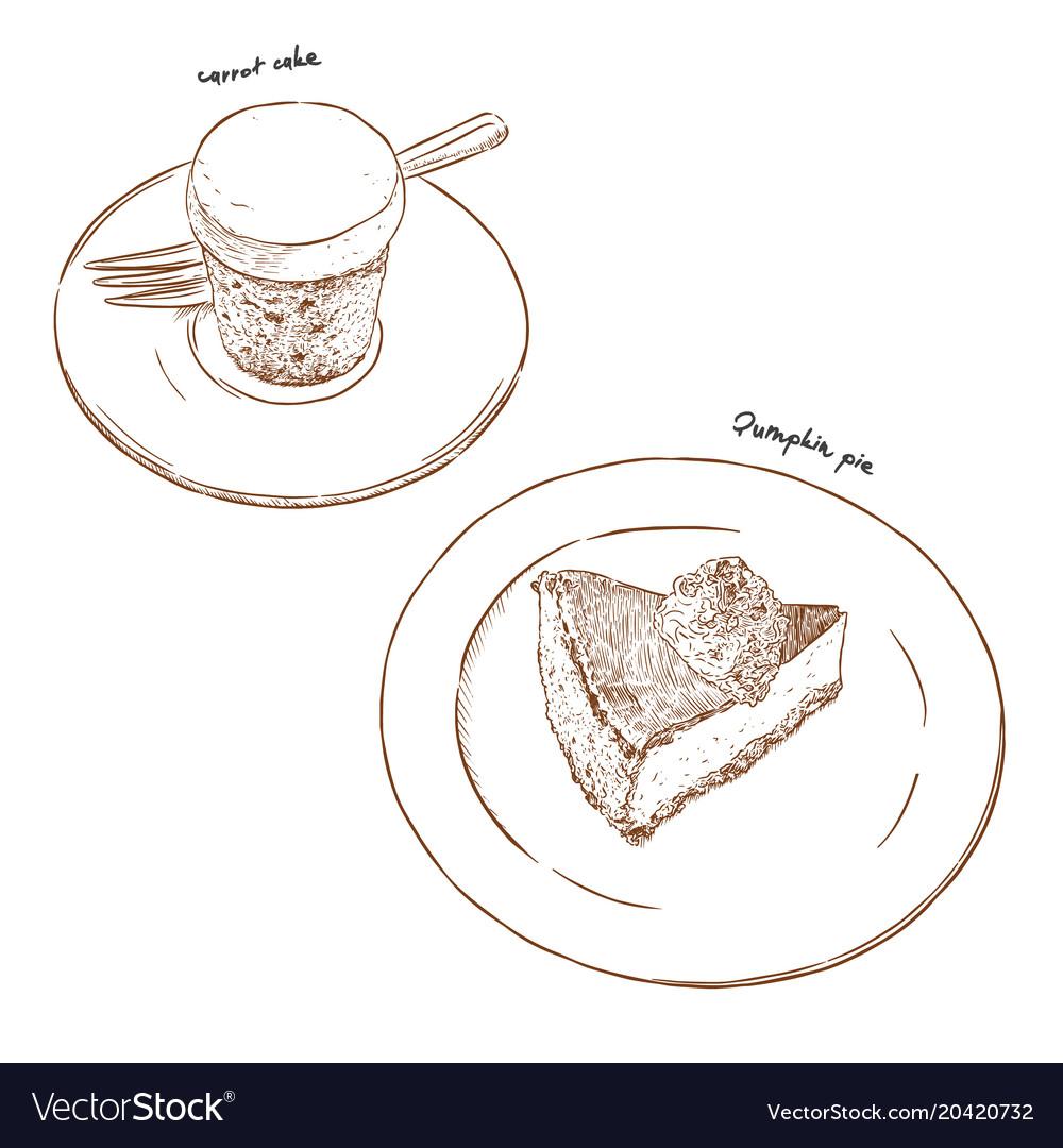 Carrot cake and pumpkin pie hand draw sketch