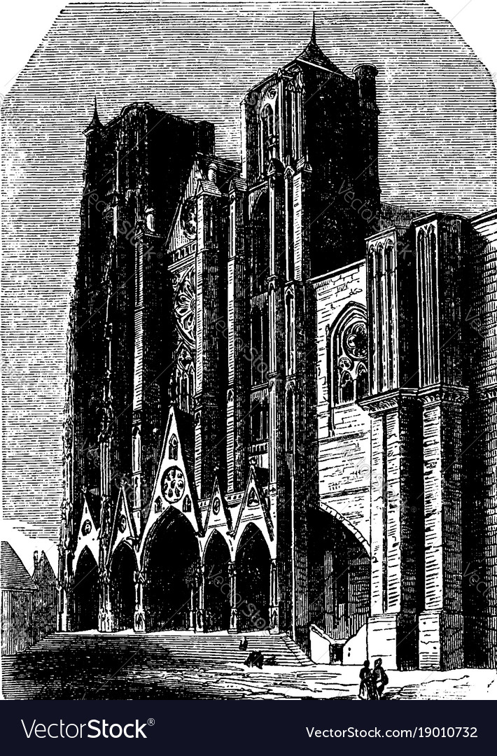 Cathedral Of Bourges Flying Buttresses Vintage Vector Image