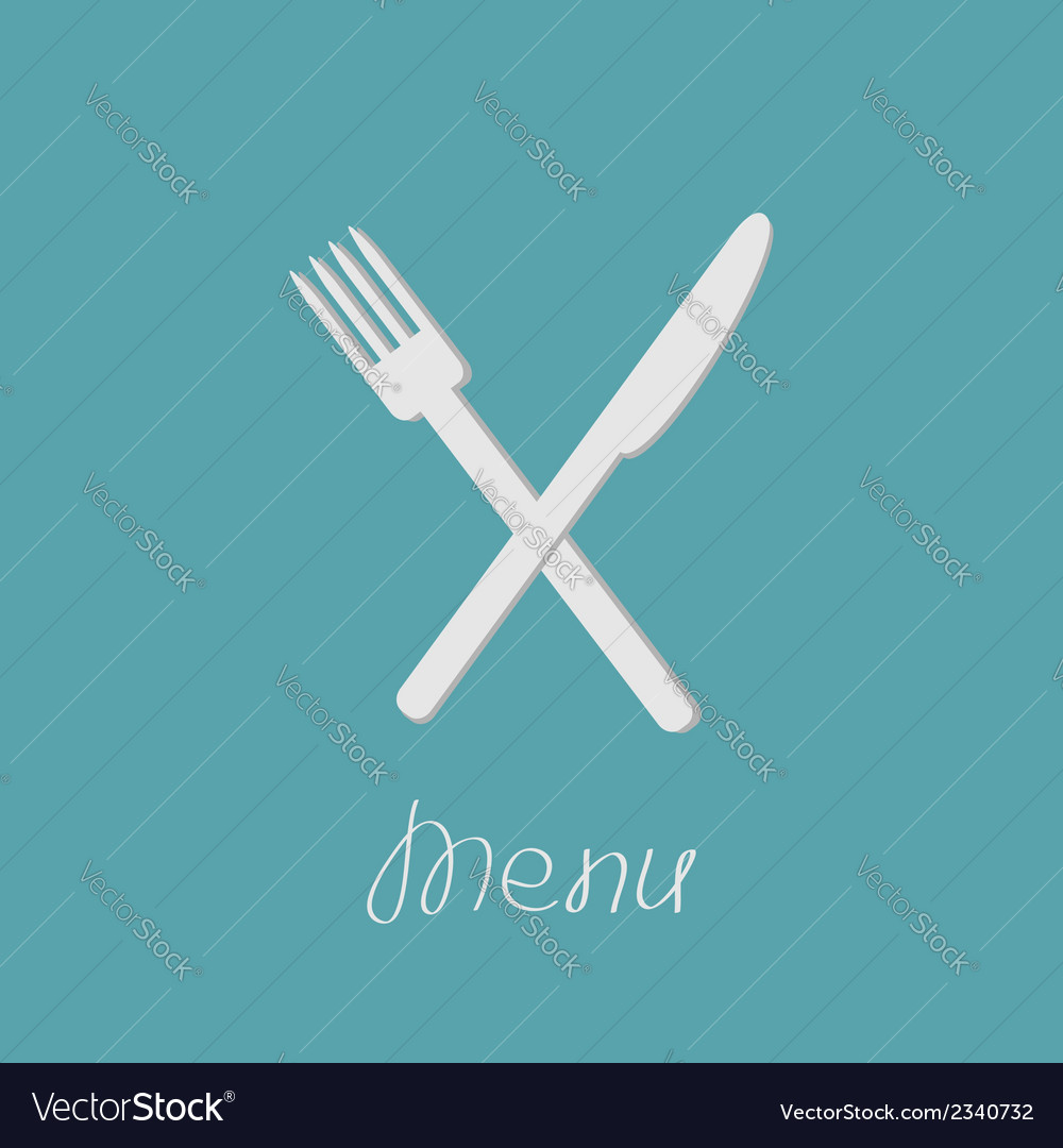 Cross silver fork and knife Menu cover in flat vector image