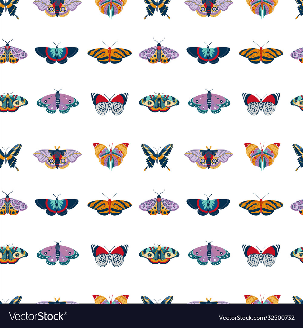 Exotic moth and tropic butterfly seamless pattern