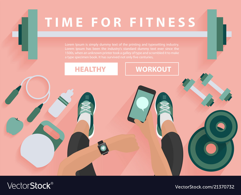 Fitness equipment flat concept with woman hand
