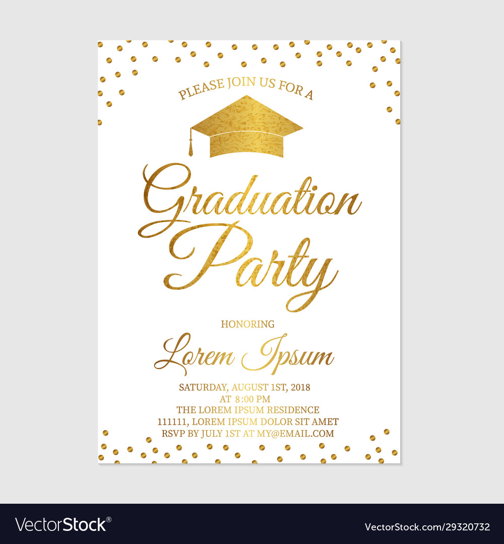 Graduation party invitation card template gold Vector Image