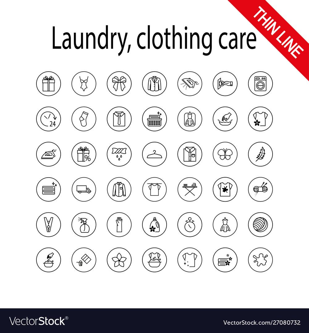 Laundry clothing care wash icons set universal