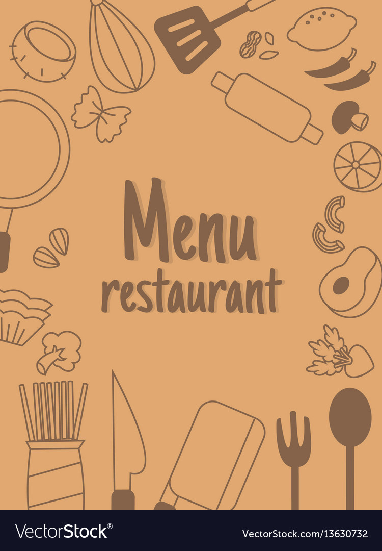 Menu restaurant with line icon