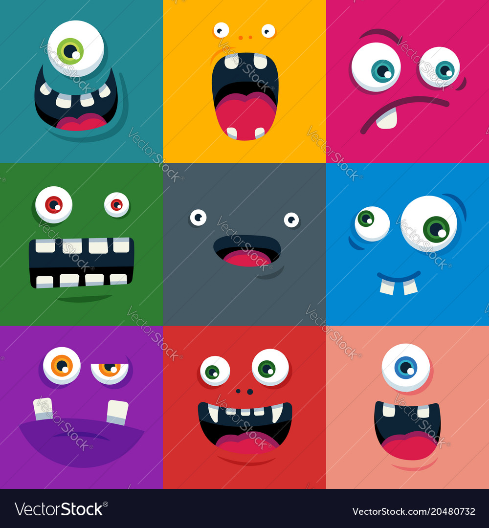 Set of cartoon cute monster faces flat