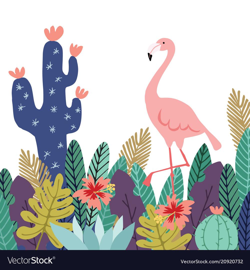 Summer tropical background banner flamingo bird
