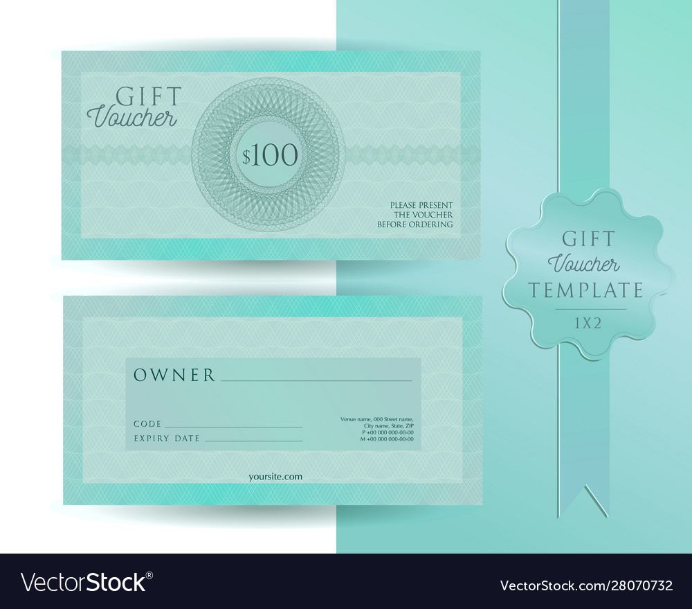 Turquoise green blue template for 100 dollars gift