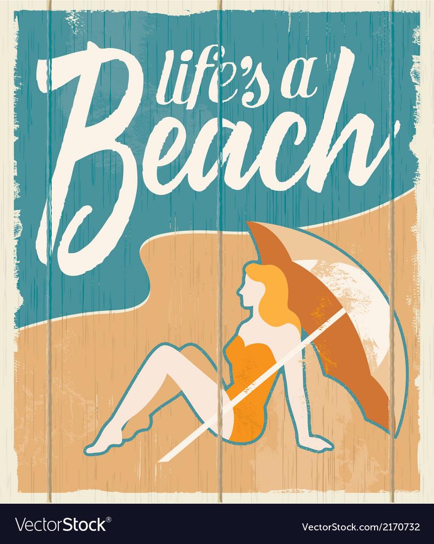 Vintage retro beach poster - wooden sign