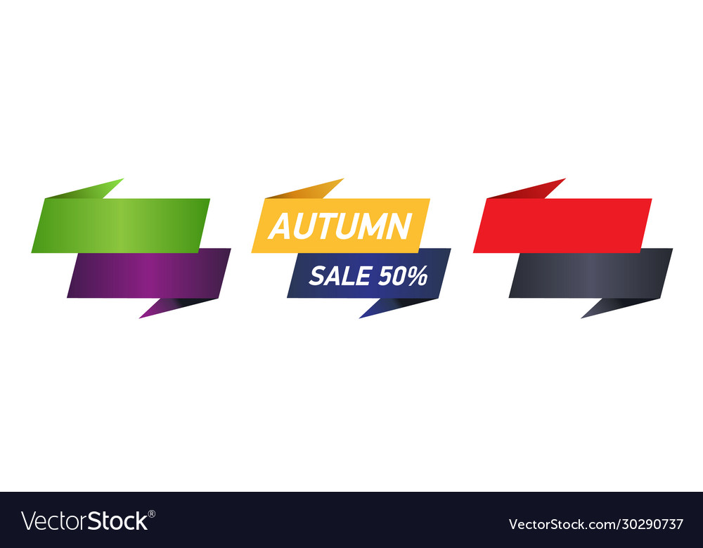 Autumn sale 50 on paper ribbon vector