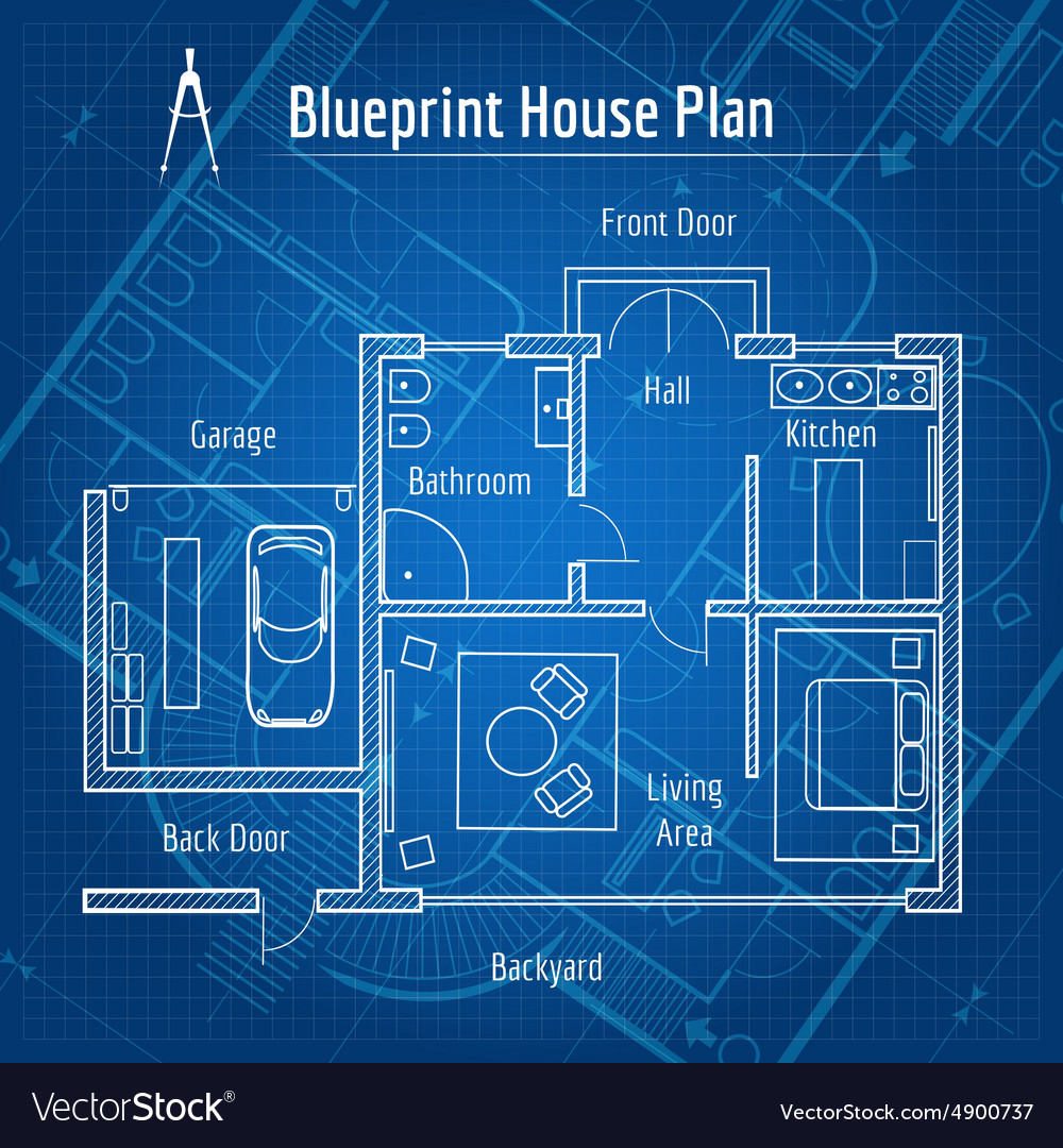 home blueprint design blueprint house plan royalty free vector image 9944