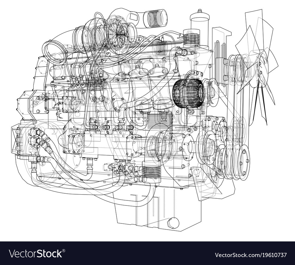 Car engine rendering of 3d Royalty Free Vector Image