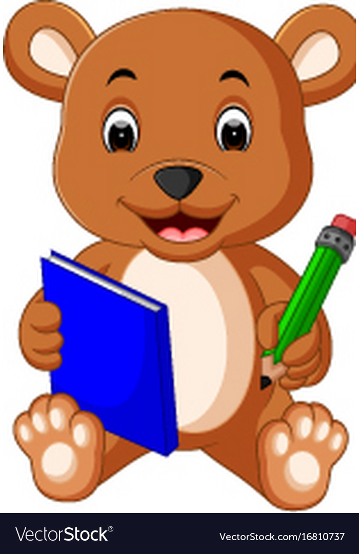 cute bear reading book royalty free vector image