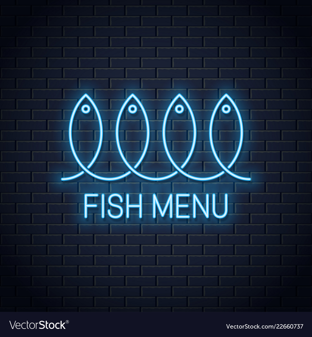 Fish neon sign linear fish menu neon banner on