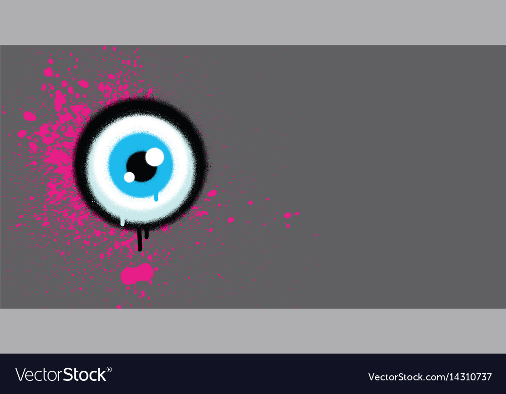 Graffiti eyeball with pink paint grunge on gray