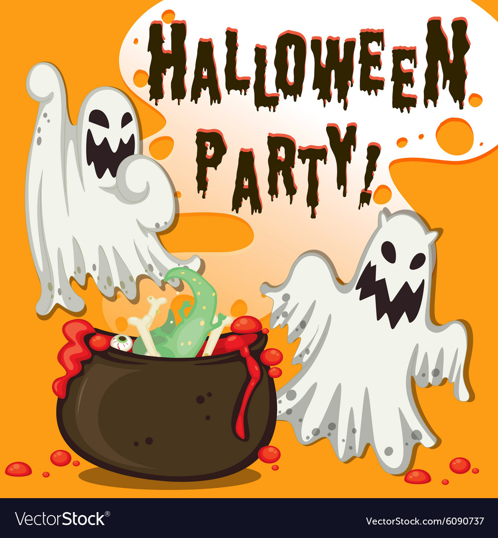 Halloween theme with ghost and pot